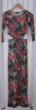NEW Ladies FLORAL PRINT 3/4 SLLEVE CUT OUT SIDE MAXI DRESS SIZE S/M 8-10