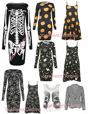 WOMENS LADIES HALLOWEEN SKELETON SPIDER PUMPKIN BODYCON DRESS, TOP BLAZER