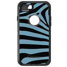 CUSTOM OtterBox Defender for iPhone 6 6S 7 PLUS Black Blue Zebra Skin Stripes