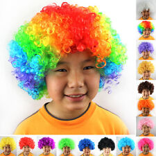 Halloween Adult Kids Costume Party Afro Clown Disco Fancy Dress Curly Hair Wig #