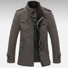 Thicken Mens Knitted Stand Collar Wool Blend Tweed Coats Long Jackets