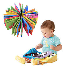 Baby Kid Child Preschool Reading Story Rattle Squeaky Crinkle Cloth Book Toy 0+