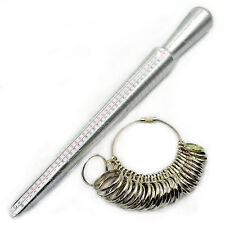 Silver Metal Ring Sizer Guage Mandrel Finger Sizing Measure Stick Jewelry  Tool