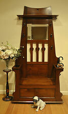 Antique Solid Walnut Art Nouveau Hallstand /Hat &Coat /Hall Stand ~Lift Top Seat