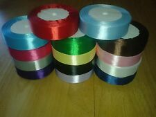 "25 yards (22 m) Satin Ribbon 1"" (25mm) 15 Colours Blue Pink Green Red White etc"