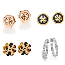 Tory Burch Logo Stud/Hoop Earrings 9 styles Gold/Rose Gold/Silver/Ivory/tortoise