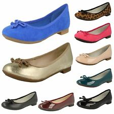 LADIES CLARKS SLIP ON LEATHER BOW DETAIL BALLERINA FLAT SHOES CAROUSEL RIDE