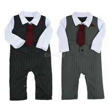 Newborn Baby Boys Gentleman Outfits Birthday Romper Ties 2Pc Bodysuit Clothes
