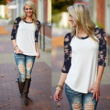 Fashion Lady Women T-Shirt Print Round Neck Long Sleeve Casual Loose Top Blouse