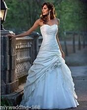 Stock ivory/white taffeta wedding dresses bride gown size: 6 8 10 12 14 16 18+++