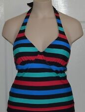 Resort red, black, blue & green mix & match underwired halterneck tankini top