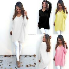 Fashion Women V-Neck Batwing Sleeve Soft Tops Solid Shift Loose Casual Blouse