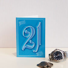 21st Happy Birthday card for boy or girl 21 typography message inside son blue