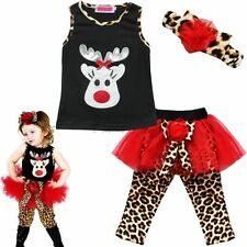 Toddler Kids Baby Girls Outfits T-shirt Tops Leopard Pants Headband  Clothes Set