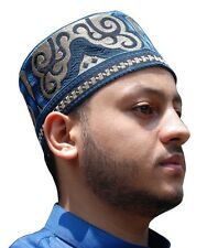 Tall Omani Arab Style African Kufi Hat Black Base W/ Blue & Lt. Brown Embroidery