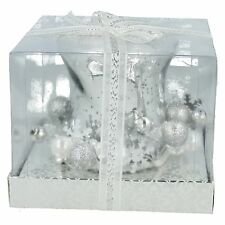 VC742SL VILLAGE CANDLE 10.5CM SILVER HURRICANE GLASS TEA LIGHT HOLDER GIFT SET