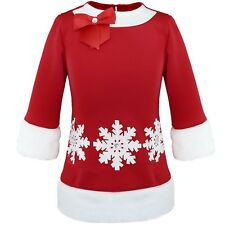 Kid Girls Santa Xmas Clothes Red Snowflake Toddler Long Sleeve Tutu Dress Outfit