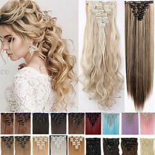 Real Thick 18 ClipsClip In Hair Extensions Brown Blonde Silver Gray As Human Fcy