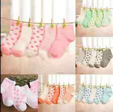 5 Pairs Lovely Newborn Baby Kids Boys Girls Cotton Ankle Socks Hosiery 0-6Years