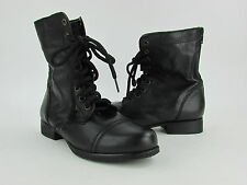 NEW Women's Steve Madden Black Lace Up Back Zipper Combat Boot S