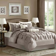 Queen Comforter Set 7 Piece Satin Bedding Pintucked Taupe Shams Skirt Pillows
