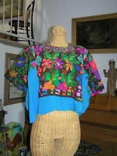 Antique Guatamalan Guatamala Top hand embroidered Symbolism raw edge size S