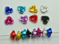 200 Aluminum Metal Rose Flower Beads 8mm DIY Craft Finding Pick Your Color
