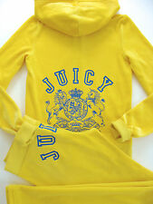 Juicy Couture Tracksuit Yellow Collegiate Crest Hoodie Pocket Pants Track M Set