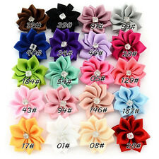 100pcs Mixed Colors Satin Ribbon Flower Rhineston Appliques Craft Sewing 25MM