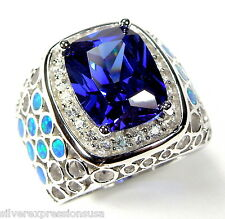 Huge Tanzanite & Blue Fire Opal Inlay 925 Sterling Silver Ring Size 6-9
