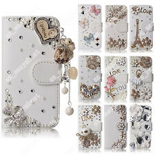White Pearl Crystal Case Bling Diamond Rhinestone Cover for iPhone Samsung