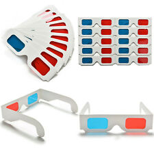 10x Universal Anaglyph Cardboard Paper Red Blue Cyan 3D Glasses For Movie Chic