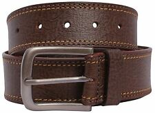 New Mens Double Border Stitched Brown Genuine Buff Leather Buckle Belts S-3XL