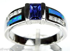New Princess Tanzanite & Blue Fire Opal Inlay 925 Sterling Silver Ring sz 7,8,9