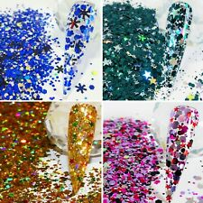 CHRISTMAS NAIL ART GLITTER MIXES IN CHUNKY/FINE ALSO IRIDESCENT 015 & 008 5g