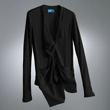 Womens Black Chiffon Ribbed Cardigan Sweater Vera Wang Petite L or XL NEW $48