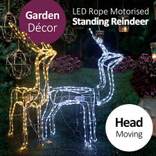 LED Neon Rope Motorized Head Moving Standing Rein Deer Warm/Cool Light Garden