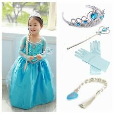 Frozen Elsa Inspired Fancy Party Dress Costume+ Accessories Gloves Wand Tiara