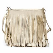 Celebrity Fringe Tassel Faux Leather Shoulder Messenger Cross Body Tote Handbag