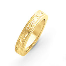14K Yellow Gold 5mm Fancy Etched Design Wedding Band Ring Sizes 5 - 12