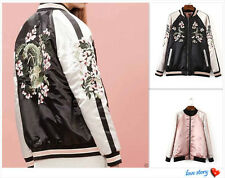 Reversible Satin Embroidered Bomber Women Coat Baseball Jacket Floral Outerwear
