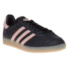New Womens adidas Black Multi Gazelle Leather Trainers Retro Lace Up