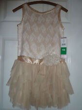 Girls gold sequinned Party Dress BNWT AGE 10