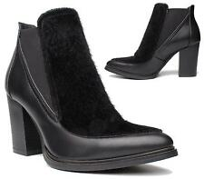 LADIES WOMENS HIGH BLOCK HEEL ELASTIC FUR ANKLE BOOTS FAUX LEATHER SHOES 3-8