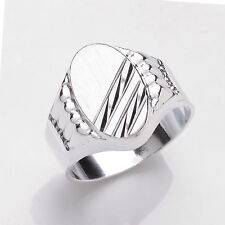 Solid Sterling Silver Platinum Plated Gents Oval Signet Ring Sizes T - Y