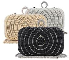 NEW LADIES BOX FASHION HARD CASE EVENING DIAMANTE PEARL OCCASION CLUTCH BAG