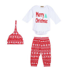 3PC Christmas Infant Baby Boy Girl Outfit Clothes Romper Snowflake Pants Legging