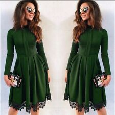 Fashion Women Lace Long Sleeve Party Cocktail Evening Bodycon Autumn Mini Dress