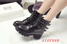 Punk Women Lady Githic Ankle Boots Buckle Black Snow Boots Casual Shoes Size 41