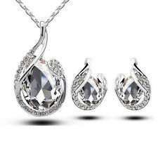 Teardrop Rhinestone Crystal Earring Pendant Chain Necklace Jewelry Set Girl Gift